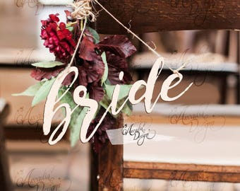 Bride and Groom Chair Decor | Bride Groom Hanging Calligraphy Chair Sign for Wedding | Cardstock or Wood Trending Chic Chair Decoration
