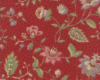 Moda FRENCH GENERAL Jardin de Versailles Floral LOlivier Red  Rouge 1 Yard Fabric April Delivery