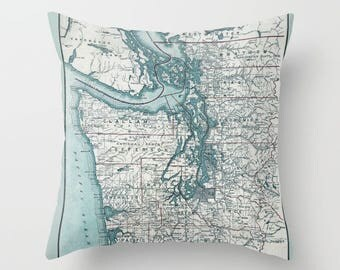 Puget Sound Washington State Map Throw Pillow - Pacific Northwest - retro - historical map,  decor, travel,  west coast