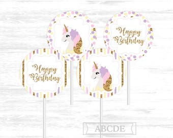 Unicorn Birthday Cupcake Toppers, Happy Birthday Toppers DIY Printable Instant Download (UNI001)