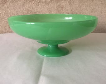Antique Northwood Jadeite Jade Green Glass Rainbow Pedestal Footed Bowl or Compote with Cupped Rim Circa 1916