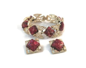 Signed Coro Jewelry Set, Vintage 1950s Set, Red Confetti Lucite Bracelet and Earrings, Costume Jewelry, Demi Parure