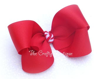 Red Hair Bow ~ Red Ponytail Bow ~ Red Boutique Bow ~ Large Red Hair Bow ~ School Uniform Bow ~ Patriotic Hair Bow ~ Headband Bow ~Red Bow