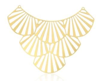 SALE Art Deco Pendant, 1Pc, Large Gold Pendant, Art Deco Fan, Laser Cut Pendant, Unique Jewelry Findings, Gold Plated Connector, Art Deco Je