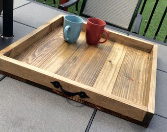 Charming Farmhouse Ottoman Tray, Pallet Wood Tray, Reclaimed Wood Tray, Coffee Table  Tray,