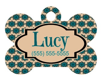 Personalized Pet ID Tag-Geometric Floral Pattern | Custom Pet ID Tag | Dog Collar Name Tag | Double Sided