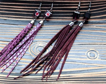 leather tassel earrings , fringe leather earrings, leather long earrings ,dangle earrings, purple earrings, coctail jewelry, leather jewelry