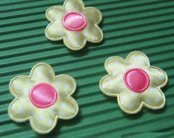 SET of 6 flowers 25mm yellow fuchsia dots applique embellishment 196