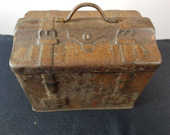 Antique Biscuit Tin Novelty Shaped Travel Luggage Trunk  1800's Victorian Original