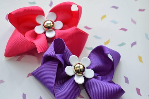Pair of pink and purple daisy bow barrettes / hair clips / pigtail clips / pony tail clips / wedding bows / flowergirl bows / birthday bows