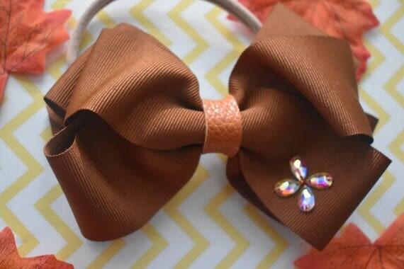 Fall Brown Oversized Bow - Baby / Toddler / Girls / Kids Elastic Hairclip / Headband / Hairband/ Hair Barrette