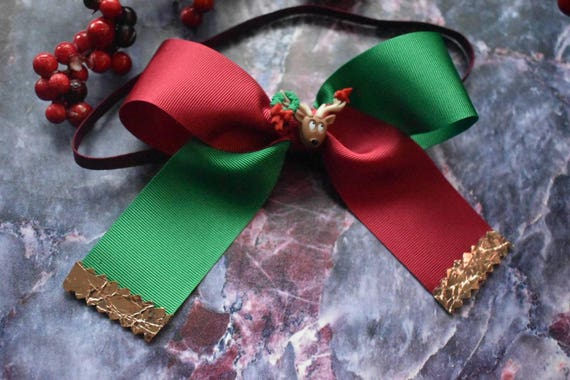 Oversized Reindeer Red and Green Grosgrain Bow - Baby / Toddler / Girls / Kids Headband / Hairband / Barrette / Hairclip / Christmas