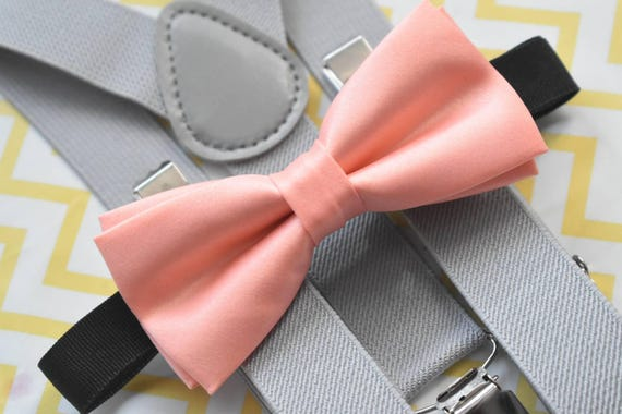 Kids Peach Satin Bow Tie with Grey Suspenders / Braces  for Baby, Toddlers and Boys - Wedding / Church/ Cake Smash / Birthday / Christening