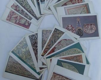 Russian Goldwork Embroidery . Set of 22 Vintage Soviet Postcards  1982 Izobrazitelnoe iskusstvo Russian Embroidery  Patterned Textiles