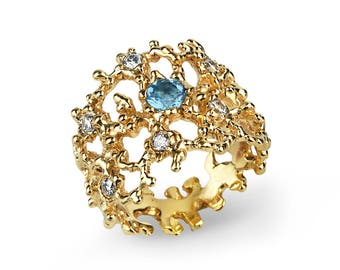 CORAL Gold Blue Topaz Ring, Statement Ring, Unique Engagement Ring, Swiss Blue Topaz Wedding Band, Wide Gold Ring, Nature Inspired Ring