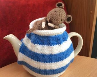 Tea cosy Handmade hand knitted Dormouse Cornish  tea cosy. medium tea pot. Ideal gift idea. Blue and white china tea cosy