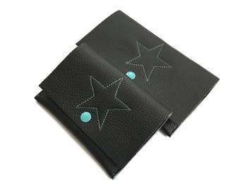 Black leather pouches for organize your bag; Passport holder and carryall in black leather with a turquiose star; Gift for her