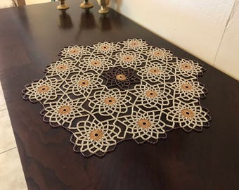 Hand Made,Ivory and Purple,Crochet Beaded Doily,Table Topper