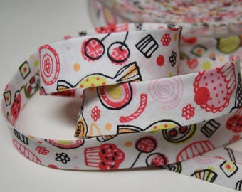 Sewing bias folded 2cm childish pattern cotton pink background white (m) ref: BIAI0