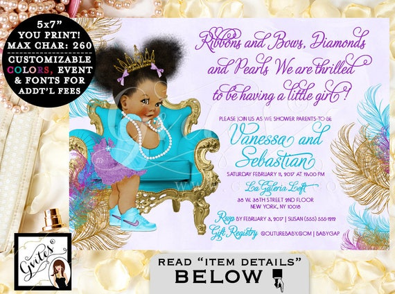 Teal Purple & Gold Baby Shower Invitation, African American baby girl baby shower, tiara, princess, ribbons bows diamonds pearls PRINTABLE
