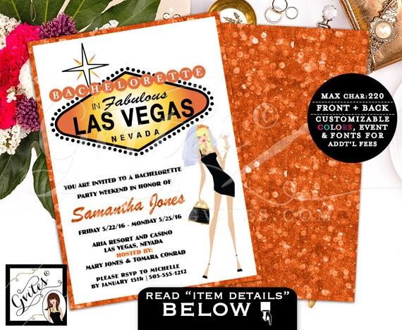 Vegas bachelorette party, vegas wedding, bachelorette party invitations, invites, las vegas wedding shower, glitz glam casino theme, 5x7.