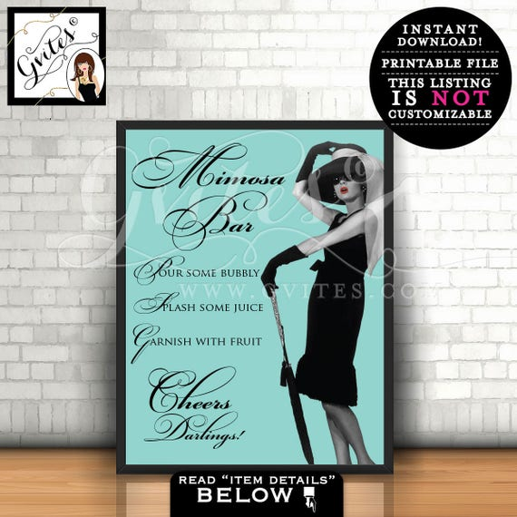 Breakfast at Tiffany's mimosa bar signs, blue theme party decorations, table signs, cards, mimosas bar sign. PRINTABLE  8x10