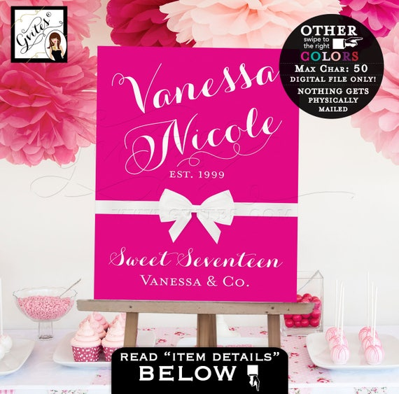 Sweet 16 Welcome Sign, birthday banner poster signs, customizable colors & text.  PRINTABLE