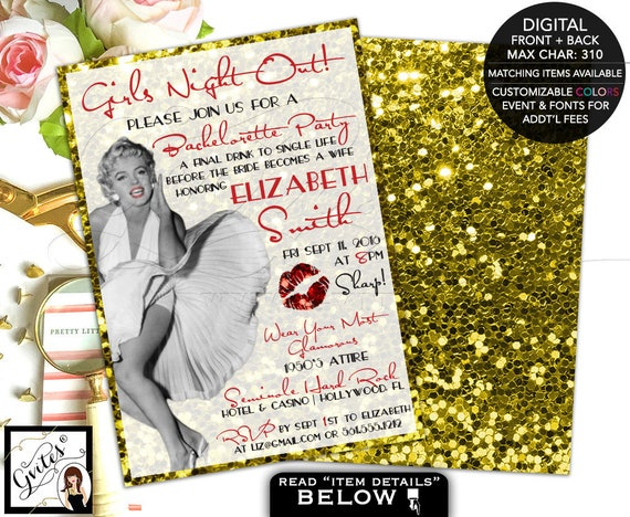 Gold glitter invitations, Girls night out bachelorette party, old hollywood style, glitz and glamour, Marilyn Monroe theme 5x7 double sided.