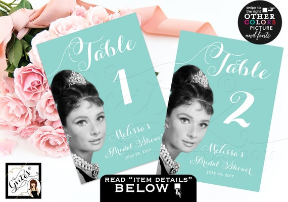 "Audrey Hepburn table numbers, breakfast at and co blue themed table numbers, cards, signs, guest seating, printable file {5x7""}"