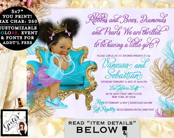 Aqua Purple & Gold Baby Shower Invitation, African American baby girl baby shower, tiara, princess, ribbons bows diamonds pearls PRINTABLE