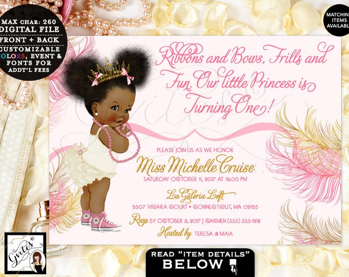 """Pink and Gold Baby First Birthday Invitation, Princess African American Afro Puffs Gold Tiara, Ribbons Bows 1st invite, 7x5"""" TIAAPU004"""
