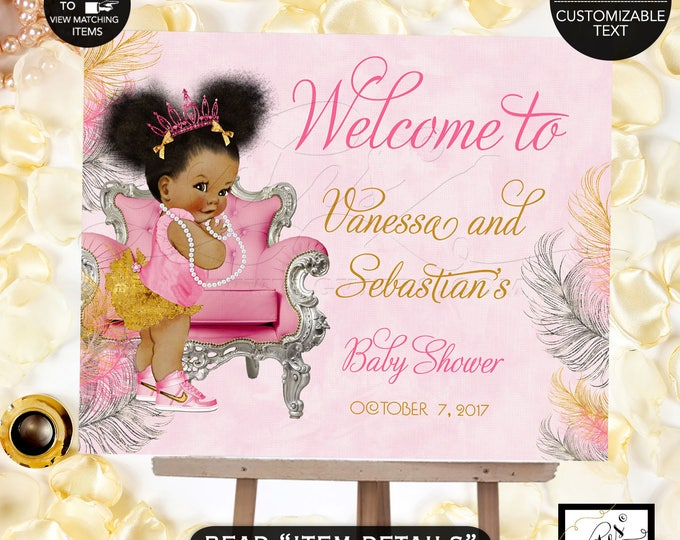 Pink Gold and Silver Baby Shower Welcome Sign, Princess Decoration, Vintage Baby Girl African American Afro Puffs Pink Tiara #TIAACP-006GS