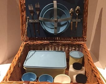 Vintage 17pc Sirram Made in England Wicker Suitcase Picnic Basket For 2 Plastic Plates Storage Containers
