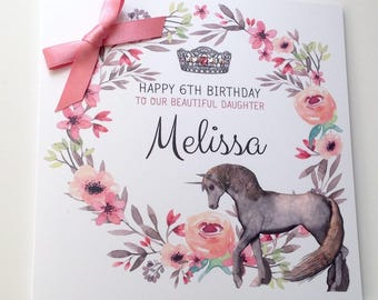 Personalised Unicorn Birthday Card Daughter, Granddaughter, Niece, Goddaughter, Sister, 2nd 3rd 4th 5th 6th 7th 8th 9th