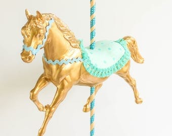 Jumbo Gold Carousel Horse -Centerpiece, carnival and birthday decor