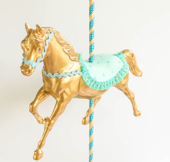 Jumbo gold carousel horse centerpiece carnival and birthday