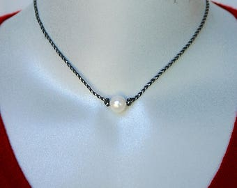 Freshwater Pearl with Sterling Core on Black and Silver Cord