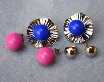 Avon Convertible 6 Way Earrings Pink, Blue, Silver Vintage