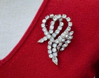 Large Rhinestone Stylized Heart Pin Dazzling Vintage