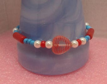 "SALE Patriotic Red White & Blue Beaded 9"" Anklet Large Size Bracelet Glass Beads Heart"