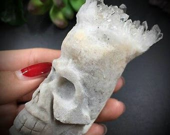 QUARTZ Crystal Cluster Carved Skull stone rock