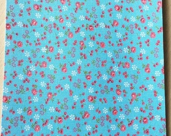 Fabric adhesive pattern: floral blue 200 x 150 mm (A5)