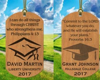 Bible Verse Choice GRADUATION Wood Ornament Keepsake Gift, Personalized FREE w' NAME!
