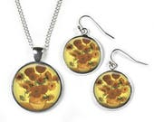 SUNFLOWERS Vincent Van Gogh  Set Pendant Chain  Earrings  Glass Picture Jewellery  Silver Plated