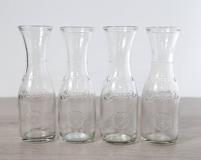 Vintage Milk Bottles / Set of 4 Brasswell's Retro Style Dairy Bottles / Flower Vases Wedding Decor Table Centrepieces / Water Pitcher Carafe