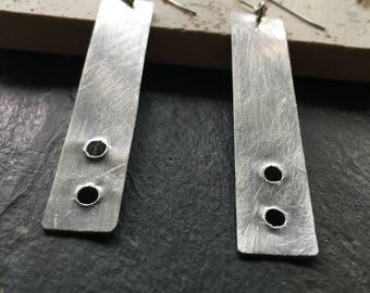 Long silver - minimalist - modern earrings