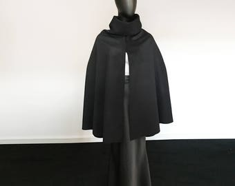 black cape, Poncho, Wool black cape, women black poncho