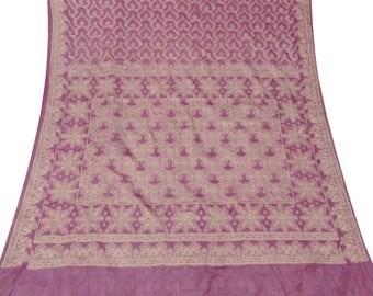 Free Shipping Vintage Indian Upcycled Fabric Pure Silk Saree Purple Woven Antique Craft Sari Decorative Fabric Used Sari 5 Yd PSW5289