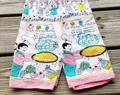 Vintage Pizza Tea Towels Individual OR Set of 2, Italian Pizza Kitchen Towels, Pink and Turquoise Kitchen Towels, Italian Kitchen Gift