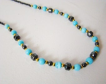 Black Blue Gold Gemstone Beaded Choker Hematite Cat Eye Necklace, Black Goth steampunk Stone Necklace